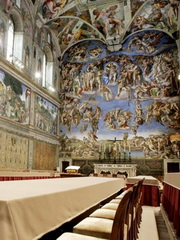 "Picture shows the Sistine Chapel with Michelangelo's fresco "" The Last Judgment "" at the Vatican, 16 April 2005. Cardinals start their conclave in the frescoed Sistine Chapel on April 18 and will vote twice a day thereafter until one candidate has reached a majority of two thirds plus one.   AFP PHOTO/POOL/Pierpaolo CITO"